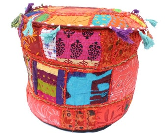 ndian Banjara Pouf Ottoman Pouf Fabric Stool Embroidery Pouf Cover Only Banjara Foot Stool Bean Bag Cover Cotton Contemporary Pouf Cover
