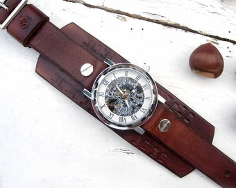 Mens Leather watch,  Engrave Silver Dial Skeleton wrist watch, Mechanical Wrist Watch Leather cuff watch, Skeleton Wrist Watch
