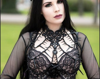 Pale pink crepe and black lace gothic victorian queen crown decorated with black roses and crystals. (Crepe & Lace available in many colors)