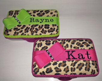 Personalized Pencil Box in Leopard/Cheetah Print with Hot Pink, Lime Green Or Light Pink Trim.  Pencil Case Name Embroidered on the Ribbon