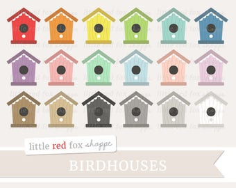 Birdhouse Clipart, Bird House Clip Art, Bird Clipart, Garden Clipart, Gardening Clipart, Cute Digital Graphic Design Small Commercial Use