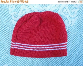 ON SALE Handmade Knitted Red and White Striped Hat/Beanie for Women