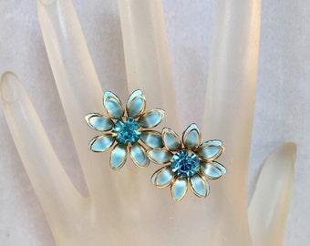 Turquoise and Gold Flower Screw on Earrings, Turquoise Faceted Pronged Rhinestone Earrings by Designer B.N. Previously 22 Dollars ON SALE