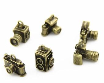 12 pcs 6designs metal camera charm-15x10x10mm-1265-antique bronze-