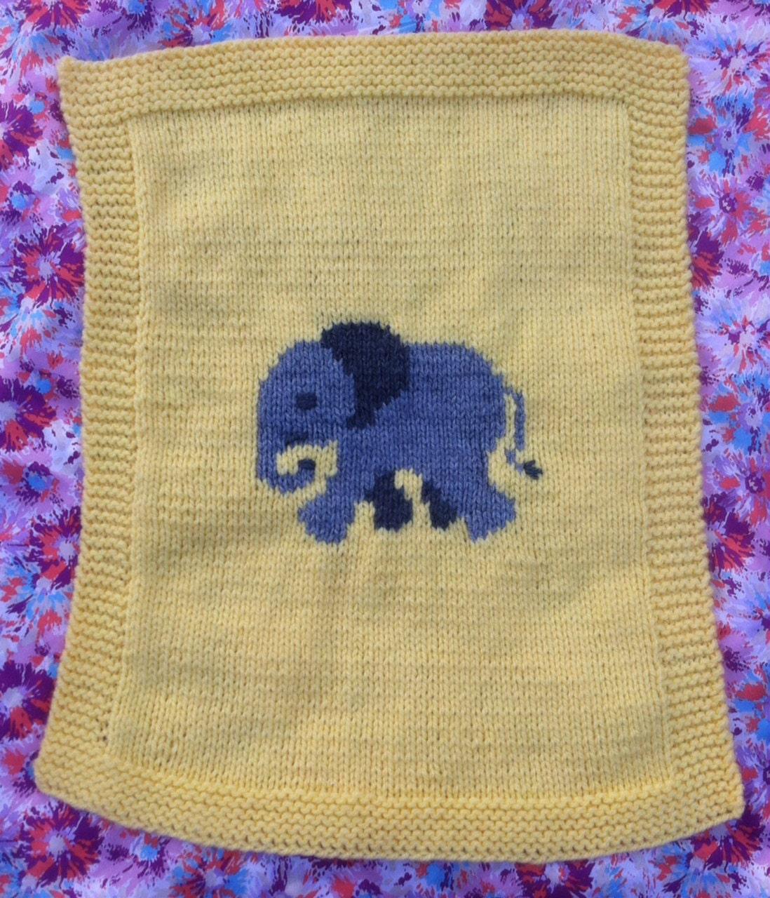 Elephant baby blanket/pram cover knitting pattern, yellow and grey ...