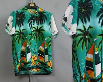 SALE Hawaii print mens summer shirt with short sleeves Tropical palmы print Hipster shirt Resort vacation wear Beach party Medium size