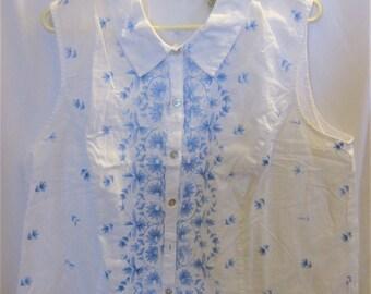 Blouse Sleeveless Cotton White/Blue Misses' 20W