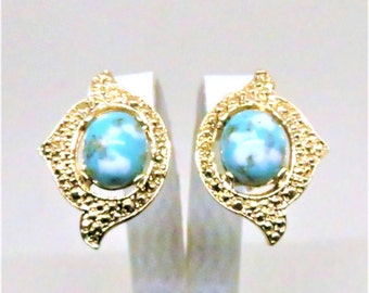 Blue Earrings - Vintage, ,Sarah Coventry Signed, Gold Tone, Clip on
