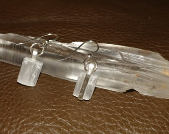 Selenite and 925 Sterling Silver Earrings 0.5 inches