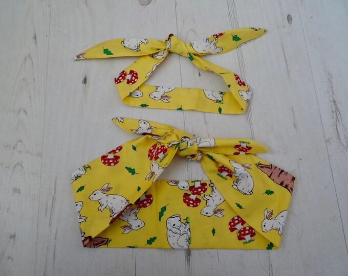 Matching Mum & Baby Head Scarf - Yellow Rabbits - Cotton Bib Baby Shower Bandana Bib Boy or Girl Gift Mom Mother