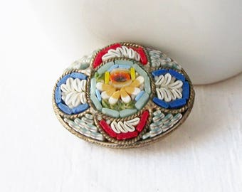 Vintage Micro Mosaic Glass Brooch, Mosaic Vintage Brooch, Vintage Italian Mosaic Brooch Pin , Costume Jewelry