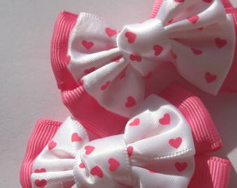 2 big heart 6 cm (A235) design fabric bows