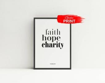Faith Hope Charity Print, Theological Virtues Poster, Catholic Art Gift