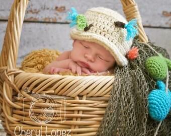 Crochet fisherman hat, newborn fishing hat, newborn prop