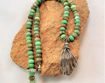 Sterling Silver Chain Tassle and Turquoise Necklace