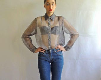 Vintage Sheer Grey Button Up Shirt