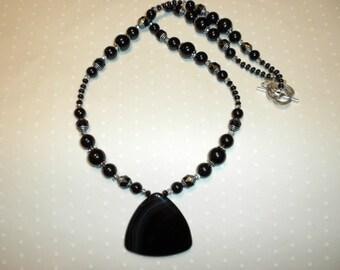 Black Agate Pendant Necklace