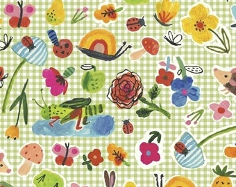 ORGANIC Cotton Quilting Picnic on Green Gingham Windham Fabrics BFFS Collection Carolyn Gavin Baby Quilt Snails Flowers Ladybugs Hedgehogs