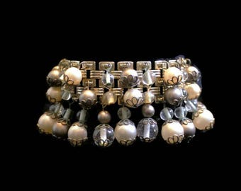 Pearl and Bead Cha Cha Bracelet In Silver Tone,  Bridal Jewelry