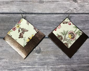 Bronze and Floral Square Earrings
