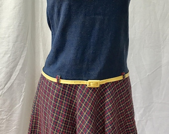 Vintage 60s Belted Blue and Plaid Scooter Dress XS S