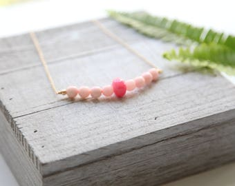 Pink Gemstone Pendant Necklace, Pretty in Pink Necklace, Pink Necklace