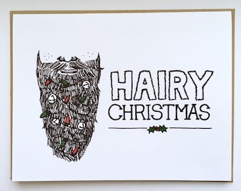 HAIRY Christmas - Hand Lettered Greeting Card