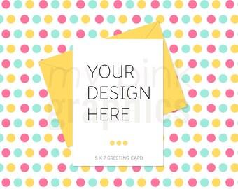 Set of 5 - A4 5X7 Card Mockup, A4 Print Mockup, Birthday Card, Invitation Mockup, Card Mockup, A4 Mockup, Styled Stock Photo, Party - MPG89