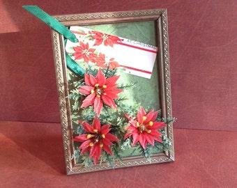 Poinsettia Framed Christmas Assemblage