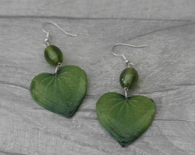Green Leaf Earrings, Green Heart Earrings