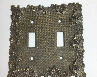 Vintage Brass Floral Double Light Switch Plate