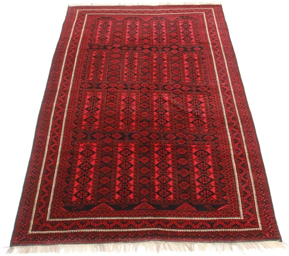 Antique Afghan Rugs: 100% Wool Vintage Tribal Turkmen Afghan Rug. Hand Knotted Wool