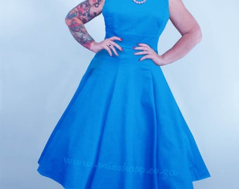 Turquoise Rockabilly Pinup Swing Dress