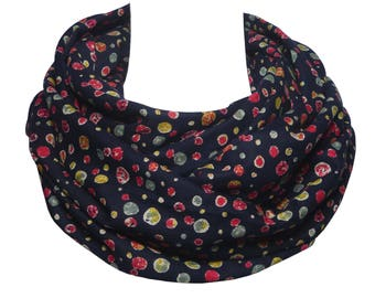 Japanese Triple Gauze Cotton, navy dark blue Snood Scarf, infinity, mustard yellow red navy polka dots, men women, warm soft fabric