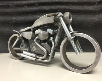 Harley sportster café racer welded metal motorcycle sculpture