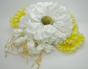 White & Yellow Ribbon Flowers Millinery Applique