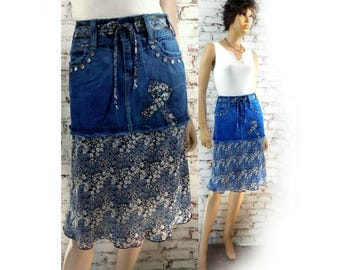upcycled blue skirt -  upcycled denim skirt - denim jean skirt , Boho skirt - alternative skirt - denim skirt - Size 5/6  # 17