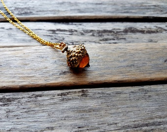 SALE! Glass acorn pendant, gold acorn necklace, acorn jewelry, rustic jewelry, forest jewelry,fall fashion,autumn jewelry, rustic bridesmaid
