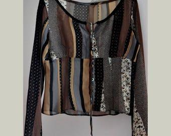 Women,s vintage blouse, hippie blouse, brown buttoned blouse, gypsy blouse sleeves, boho blouse size M