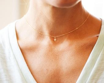 14K Gold Itsy Bitsy Teeny Weeny Cross Necklace