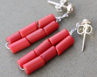 Red Stripe Earrings