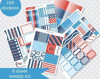 SAIL AWAY Nautical Themed Planner stickers Weekly Kit Vertical layout 6 Sheets