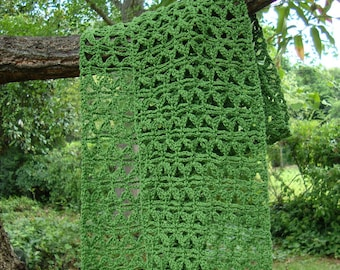 Crochet Scarf, Crochet Scarves, Crocheted Scarf, Green Scarf, Mom Gift, Mother's Day Gift, Gift for Her, Lace Scarf, Cotton/Hemp Scarf