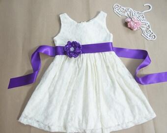 Ivory lace flower girl dress Purple flower girl dress Lace flower girl dress Rustic flower girl dress Country flower girl dress