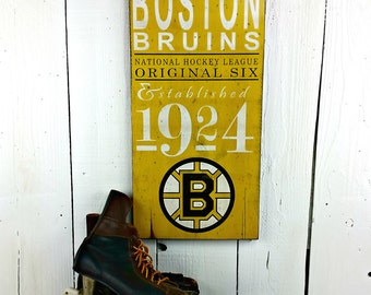 2 SIZES Boston Bruins Hockey - Original 6 - Distressed wood sign