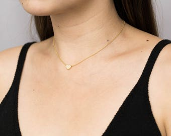 Gold Heart Necklace / Dainty Heart Choker / Gold Heart Layering Necklace / Gift for Her / Valentine's Necklace / Bridesmaid Necklace