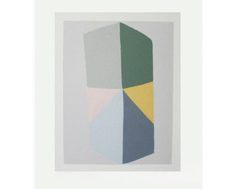 Geometric art, handmade screenprint, muted colours, Abstract handmade silkscreen print, modern, original wall art, Emma Lawrenson.