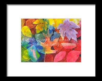 Father's Day Gift Idea Instant Print Download 5x7 Print from Watercolor Painting Autumn Leaves for matting and framing