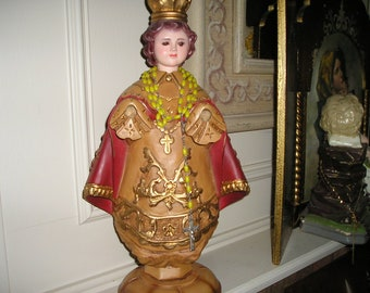 "Vintage Superbly Hand Carved Wooden Infant of Prague Santo Nino.Religious 17"" Icon."