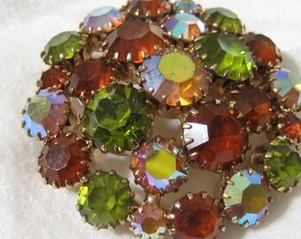 Vintage Fall Colors Rhinestone in Metal Large Costume Jewelry Brooch